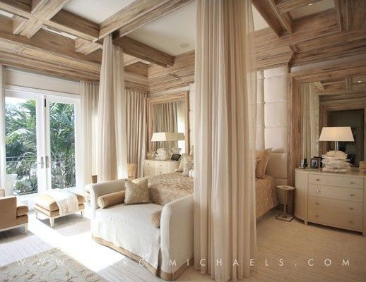 Traditional Master Bedroom with Built-in bookshelf, Crown molding, French doors, Box ceiling, Rossetto - Moon Oval Dresser