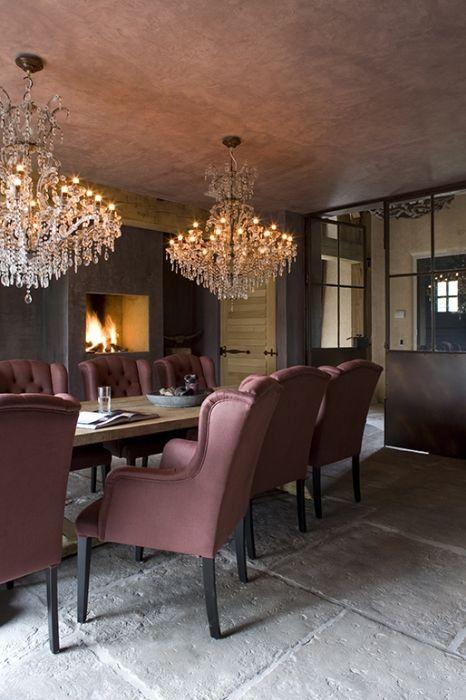 Belgian style interiors dining room internal doors for Landelijk modern interieur