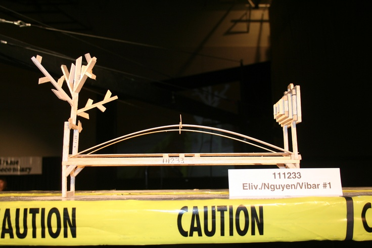 111233. 18.15 kg. 1st place Most Unusual category. This bridge did not meet the physics 11 minimum requirement of 20.00 kg.