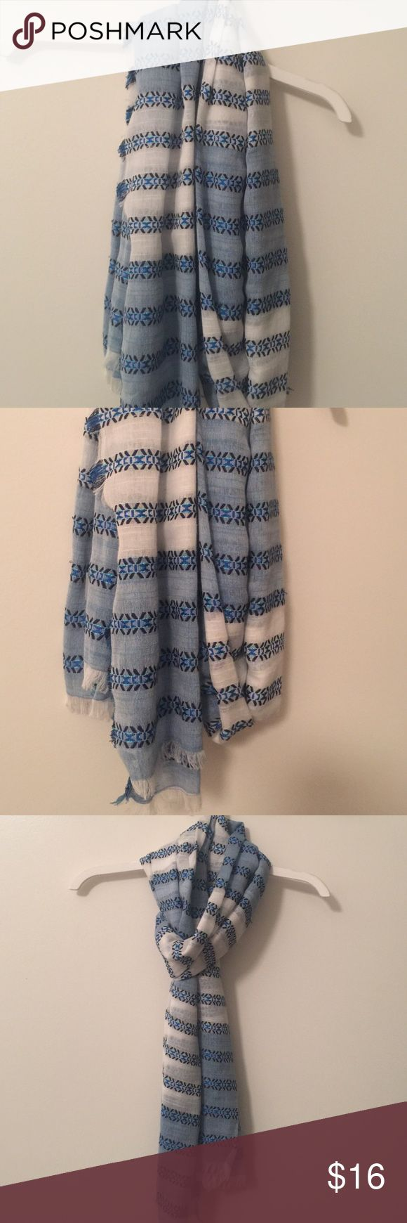 J Crew sky blue fringed scarf Super pretty blue and white scarf with an embroidered motif and fringe. J. Crew Accessories Scarves & Wraps