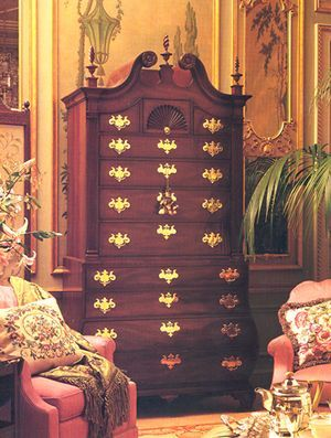 Elmwood Company  Kittinger/ Colonial Williamsburg/Bombe Tall Chest on Chest based on a Boston chest on chest