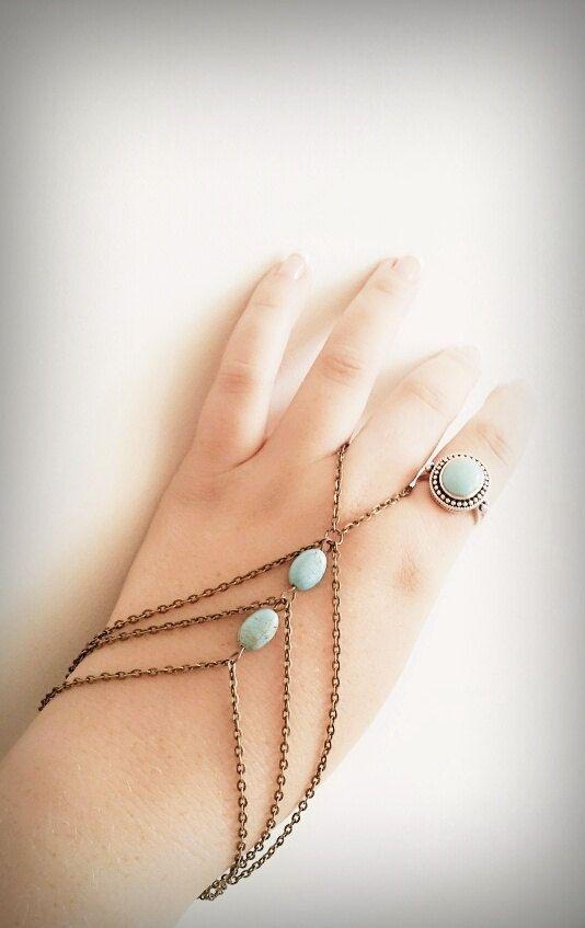 Boho Slave Bracelet Hand Bracelet Bronze by BeUniqueJewellery, £8.00