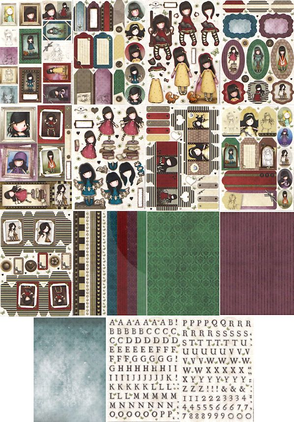 Gorjuss Ultimate A4 Die Cut Decoupage and Paper Pack Contents