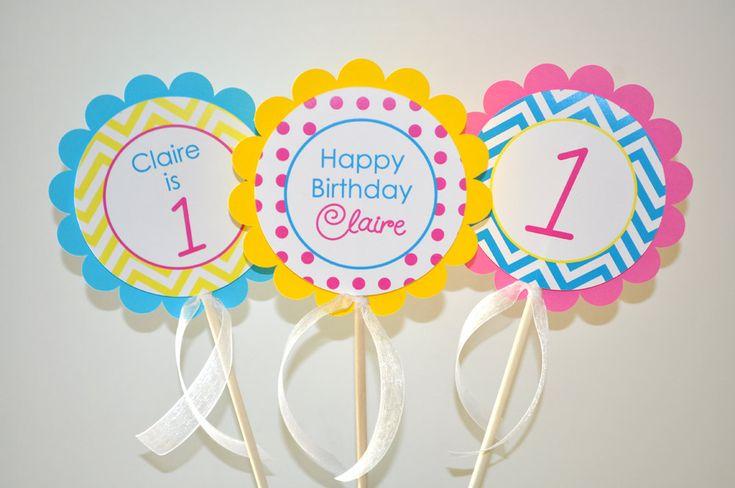 chevron first birthday | Girls 1st Birthday Centerpiece Sticks - Chevron Birthday Decorations ...