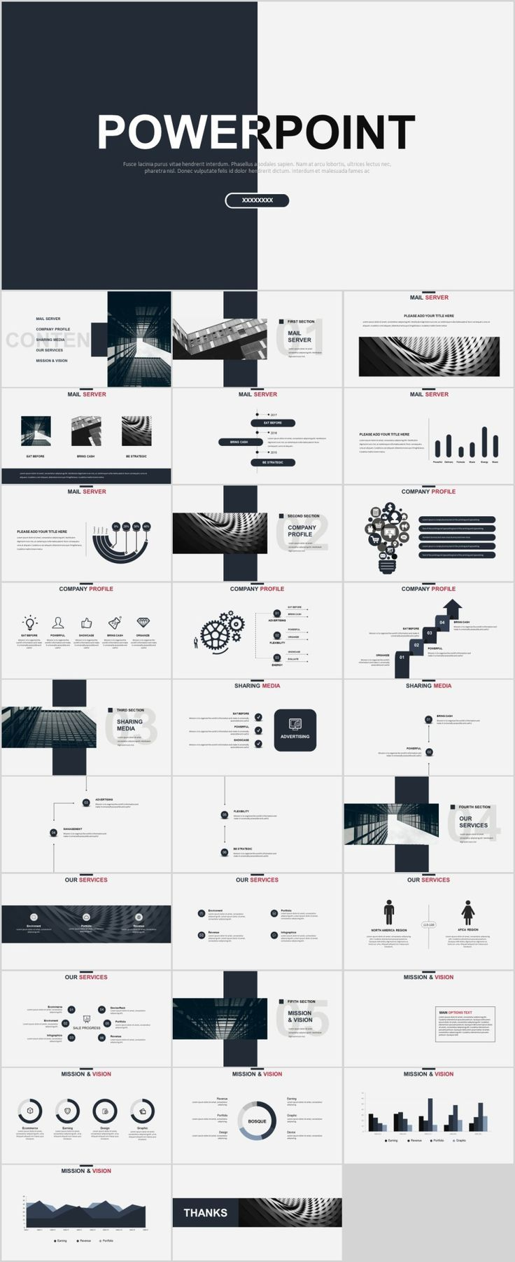 30 gray creative charts design powerpoint template print