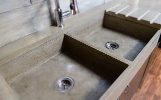 MODE CONCRETE: Modern Contemporary Concrete Kitchen with Waterfall Countertop - made in Kelowna BC Canada, by MODE CONCRETE
