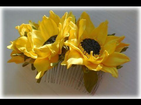 МК Соняшник із фоамірану.  Украшения для волос с подсолнухами из фоамирана.