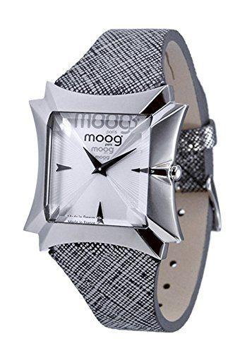 """Moog ParisDamen-Armbanduhr """"Vendôme"""", silberfarbenes Zifferblatt, silberfarbenes Armband aus Rindsleder, hergestellt in Frankreich, M45402-004 - http://uhr.haus/moog-paris/moog-paris-vend-me-damen-armbanduhr-zifferblatt"""