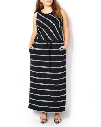 Sleeveless Striped Maxi Dress   Get ready for fun in the sun with this stylish plus-size dress! With its trendy striped print, it features a sleeveless design, scoop neck, maxi-length and a cord at waist. Dress it up with heels! #penningtons