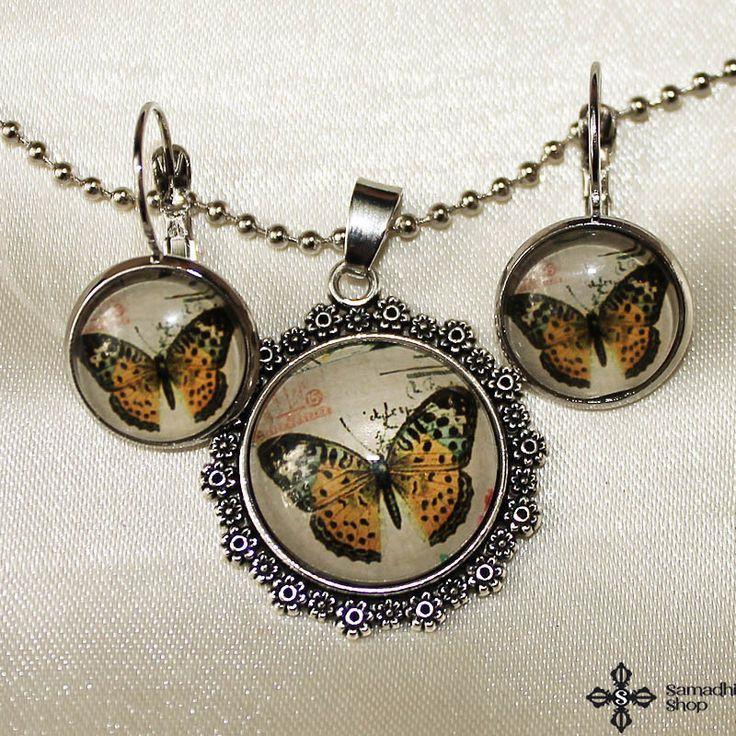 Butterfly Glass Pendant Necklace   Glass Earrings