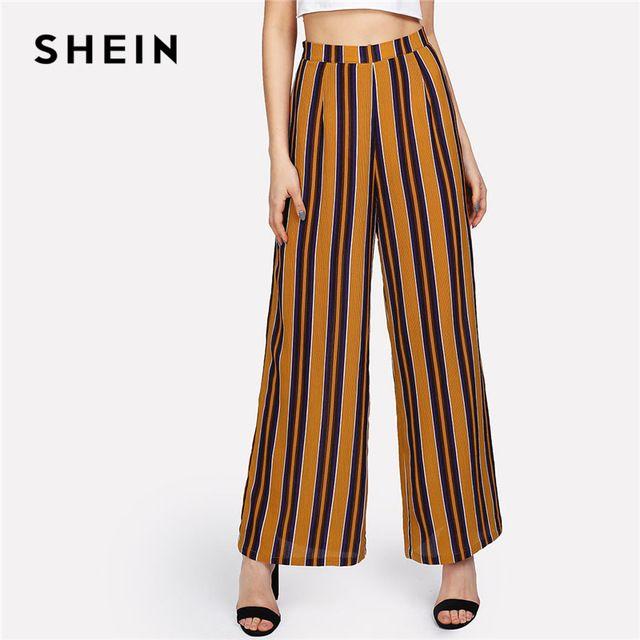 e6f6d1499c4c SHEIN Zip Up Large Jambe Pantalon Rayé Femmes De Mode de Nouveaux Vêtements  Mi Taille Lâche Pantalon 2018 Printemps Femelle Élégant Pantalon