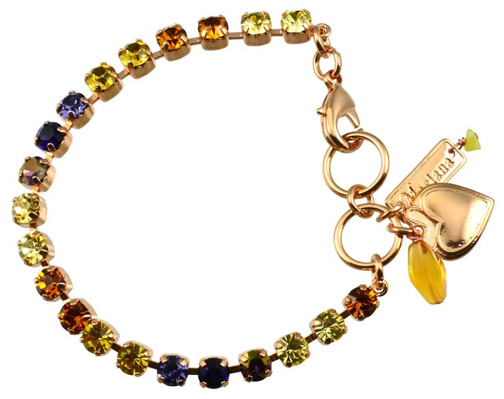 "Hope"" Rose Gold Plated Swarovski Crystal Tennis Bracelet with Heart Pendant, 8"
