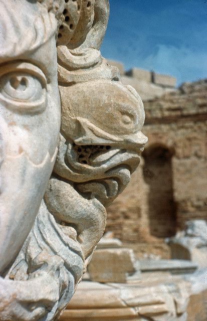 Gorgon head in the ruins of Leptis Magna in Al Khums, Libya