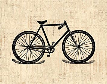 Vintage Bike Print Antique Bicycle Illustration Cycling Wall Art Poster or Print with a Vintage Script Paper Style - Office Bedroom Living Room Home Decor (16 x 20 Inches) - $44.9900