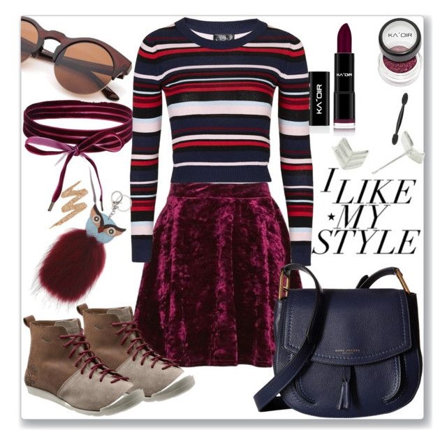 """""""Style"""" by ludmyla-stoyan ❤ liked on Polyvore featuring Topshop, Keen Footwear, Boohoo, Marc Jacobs, Essentia By Love Lily Rose, H&M, Urban Decay, striped, velvet and burgundy"""