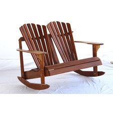 Signature Teak Adirondack Double Back Rocking Chair