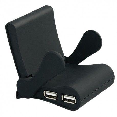 Soporte para móvil con cuatro puertos usb. Es un regalo de empresa muy útil y original.