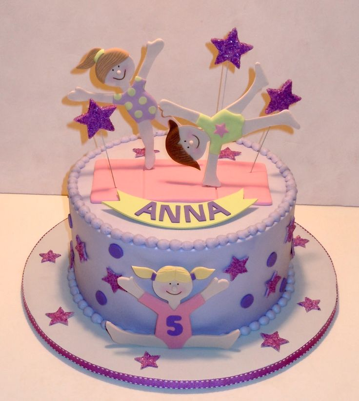 If you're planning a Gymnastics birthday party, here's a great idea for a cake--colorful and theme-inspired.