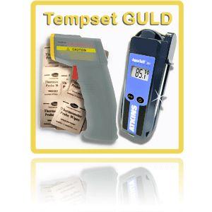 http://www.egenkontroll.nu/Mat-temperatur/TempSet-Guld.html  TempSet Guld  TempSet Guld: Vårt finaste TempSet. Speciellt för dig som vill mäta kärntemperatur utan att behöva vänta på att termometern skall hinna ställa in sig. Du har temperaturen inom 1 sekund! Använd CIR 350 för att scanna av vid ankomst -kontroll och i kylar och frysar...