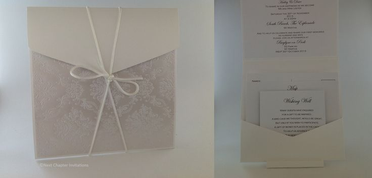 HAMPTON COURT An elegant invitation using luxury lustre paper Pearl Boudoir from Cristina Re with a pearl metallic 15x15 square pouch. This invitation comes with a matching envelope and includes a wishing well, map and rsvp card. PRICE:$8.95 https://www.facebook.com/NextChapterWeddingInvitations