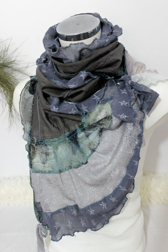 Deep coffee scarf Gray brown scarf Unique by Nazcolleccolors
