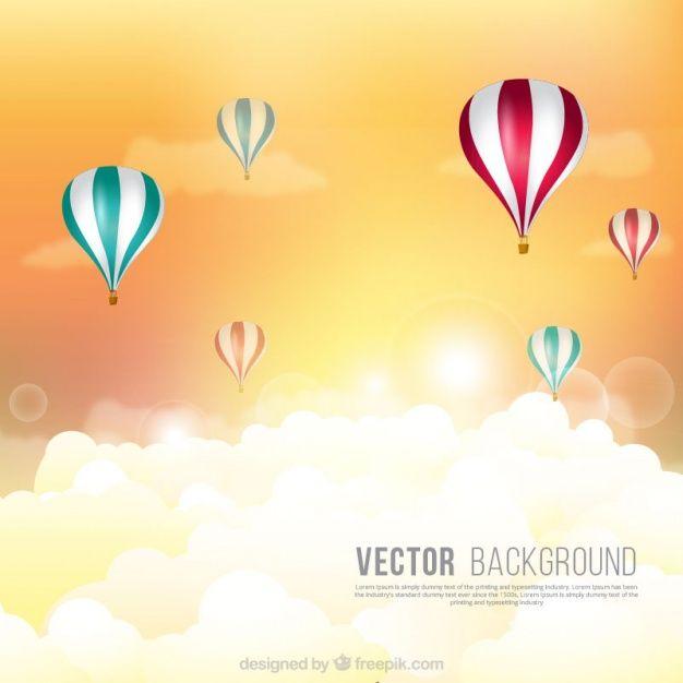 Fondo plano con globos  Vector Gratis