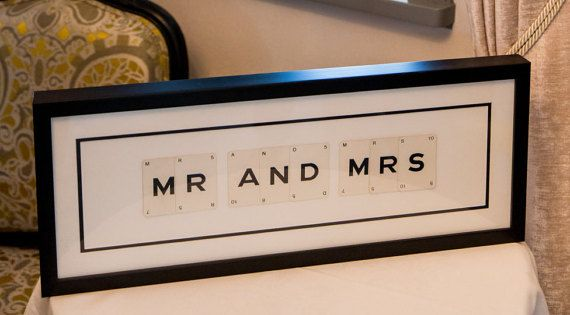 Mr & Mrs vintage card frame, wedding gift, Vintage wedding, engagement gift, anniversary gift, gift for couples.  A unique frame containing individual vintage cards sourced from a 1930s spelling game. The cards are then double mounted with cream and black, into a stylish black wood box frame.  Every card is an original, and professionally framed.  The perfect gift which will be cherished by the happy couple in years to come.