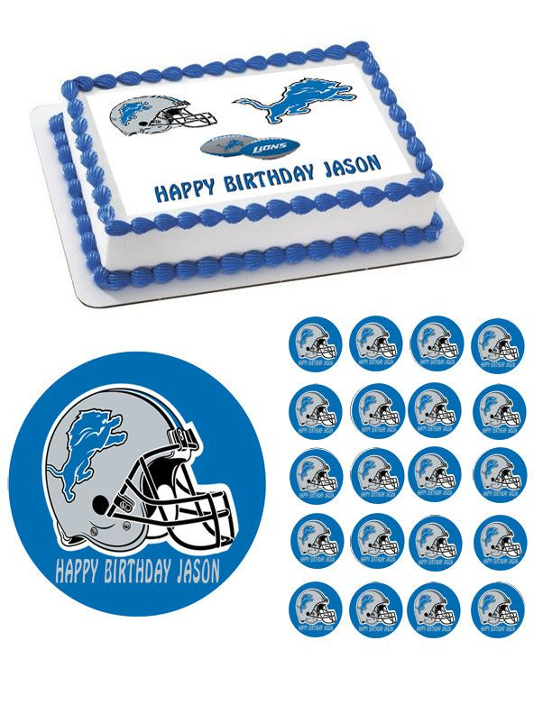 Detroit Lions Edible Birthday Cake Topper OR Cupcake Topper, Decor