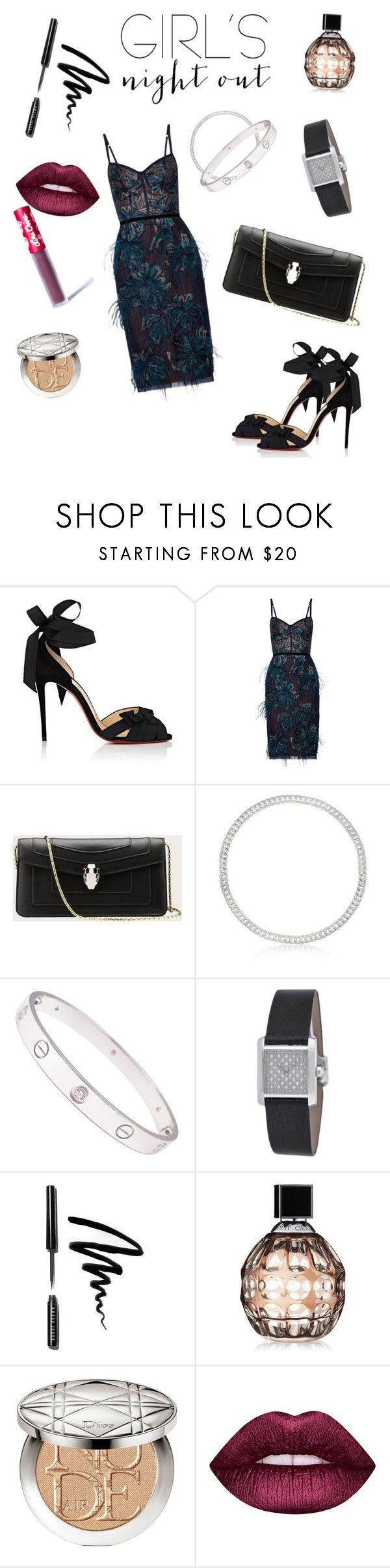 """""""Glam"""" by bpinphaya-gresch ❤ liked on Polyvore featuring Christian Louboutin, Notte by Marchesa, Cartier, Bobbi Brown Cosmetics, Jimmy Choo, Christian Dior and Lime Crime"""