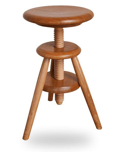 Tabouret à vis d'horloger en bois réglable en hauteur vernis naturel
