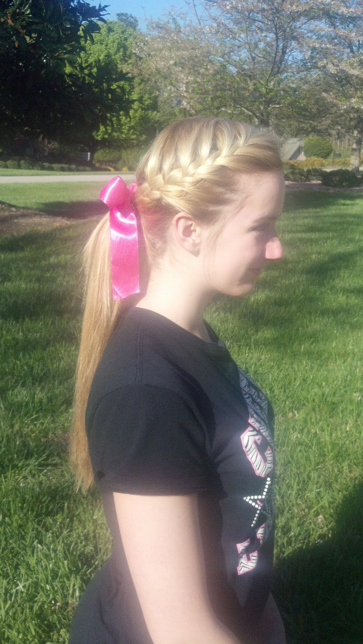 Braided ponytail~Softball hair, I would probably have to lower the ponytail if I did this so it would fit under my helmet.
