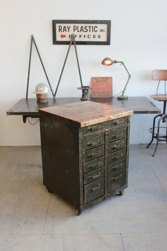 Vintage Industrial Workbench Kitchen Island Rolling Tool Cabinet