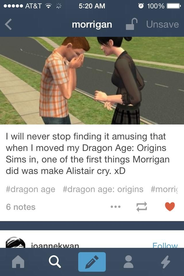 Morrigan and Alistair, always fighting no matter what universe they are in :) OH MY MAKER YES.
