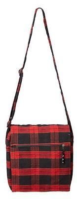 Shoulder Bag - Red and Black Checkered Plaid - gaia rising metaphysical