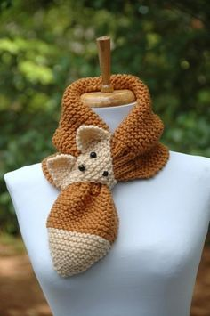 Knit Fox Scarf, Keyhole Scarf, Stay Put Scarf, Hand Knit, Vegan, Brown