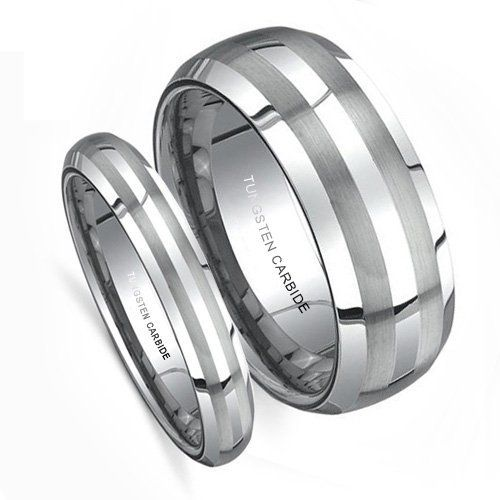 Top Value Jewelry Matching Wedding Band Set His Her Tungsten Rings Anium Color Double Brush Lines Men Size Women Half Sizes Available