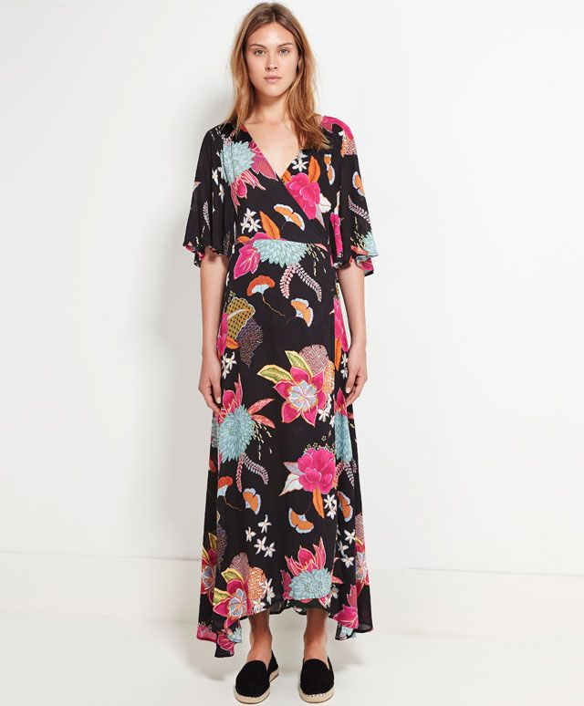 Long dress with oriental flower print and short sleeves - Dresses.