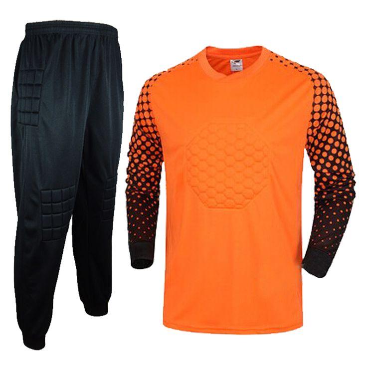 2016 Men's Soccer Goalkeeper Jersey Sponge Protector Suit Camisetas De Futbol Jersey Kids Goal Keeper Uniforms Long Sleeve Suit