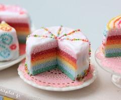 PetitPlat Handmade Miniature Food: Rainbow Cake -