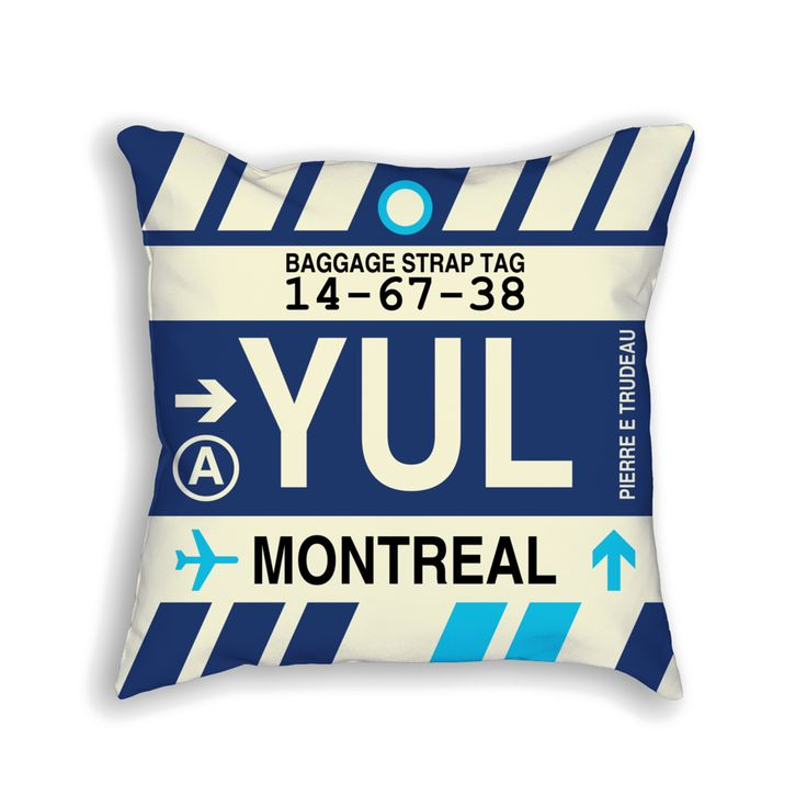YUL Montreal (Pierre E. Trudeau) Airport Code Baggage Tag Pillow