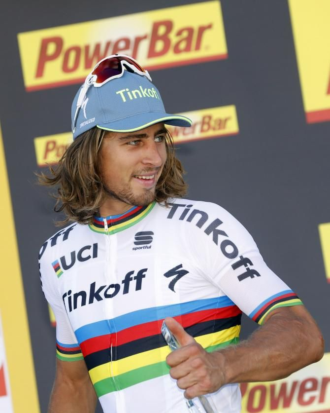 Peter Sagan (Tinkoff) celebrates another stage win after winning stage 11 of TdF 2016.