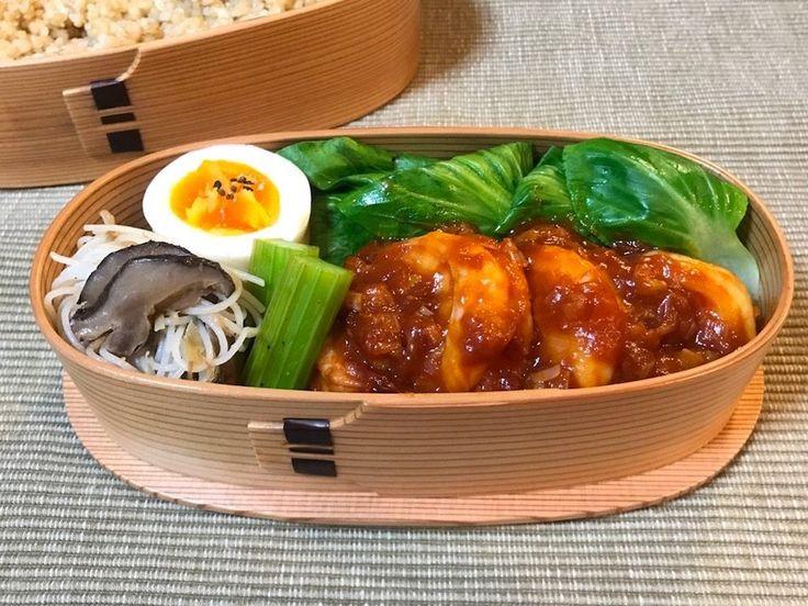 玄米260g、海老チリ、青梗菜塩茹、にぬき、椎茸ビーフン、セロリ中華ピクルス