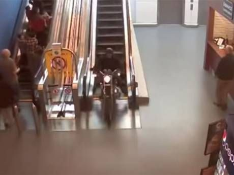 Crazy Motorcycle Chase through Shopping Mall