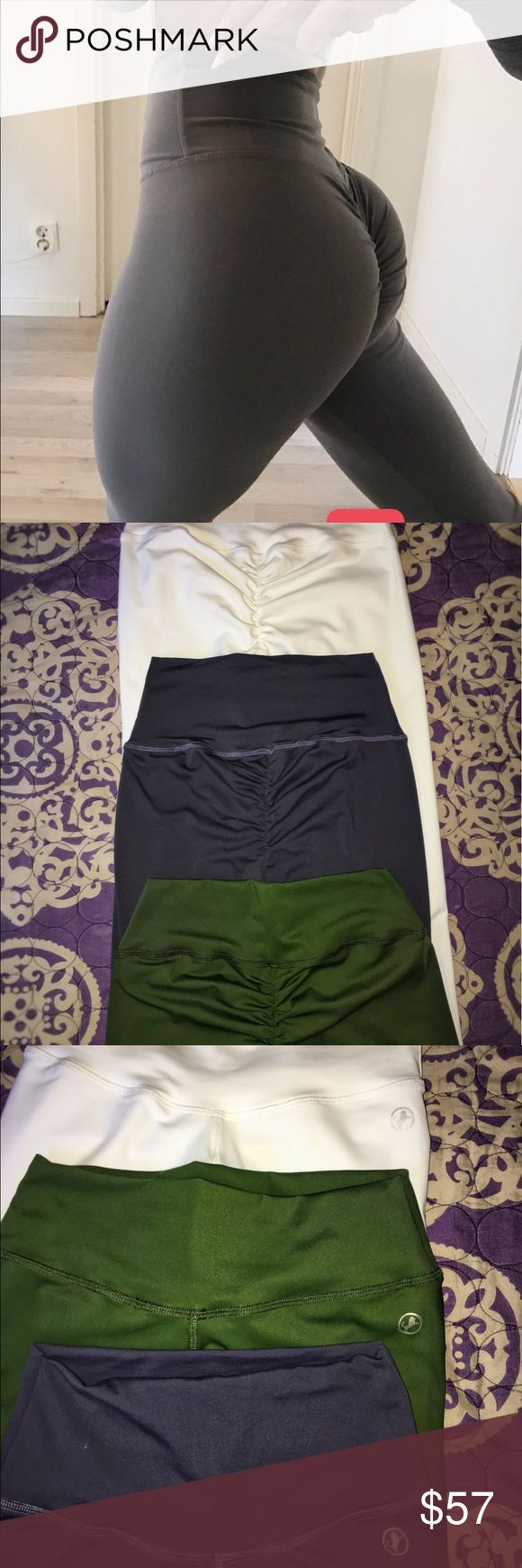 Workout leggings booty Scrunch Booty heaven !!!! In these!   Abs2bFitnessapperal ORIGINAL PRICE 70-75$ plus tax and shipping. But get yours NOW for 55$ only!   Brand new Abs2bFitness Booty Scrunch leggings.   Army green -Size Medium 55$ Moon Grey: Size Medium 55$ White: Size White 55$ Visit their website and see that they are 70$ retail plus shipping. But hey yours now for 55$.  They are high waisted and make your booty look very plump and round. They hug your body perfectly. Very soft…