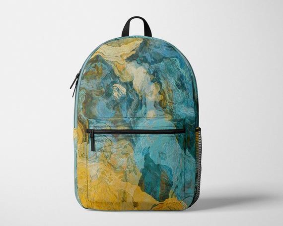 Abstract Art Backpack, Contemporary School Rucksack, Modern Satchel, Adjustable Ergonomic Padded Sho