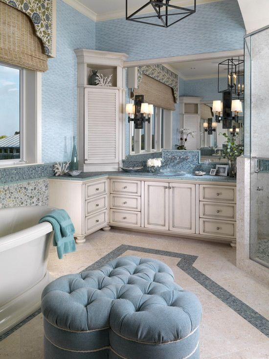 Relaxing blue bathroom interior. Love!