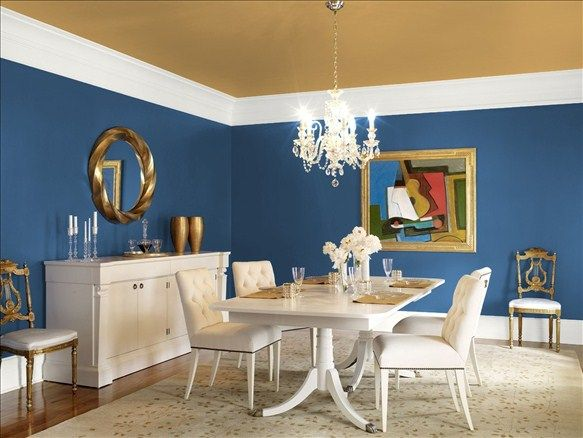 modern dining room colors. Dramatic Dining Room - Wall Color: New York State Of Mind Ceiling Modern Colors