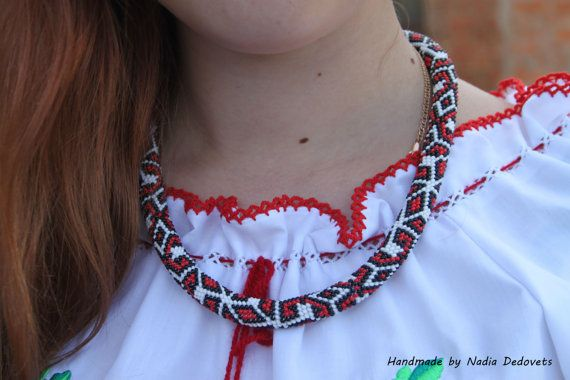 Necklace embroidery Ukrainian necklace necklace by NadiaDedovets