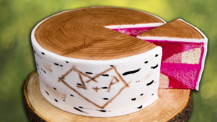 How to Make a Birch Bark Log Cake w. Hidden Pink Camouflage