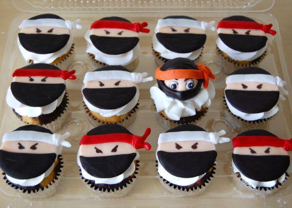 Ninja Cupcake Fondant Toppers. by TutuCuteCakes $24.00
